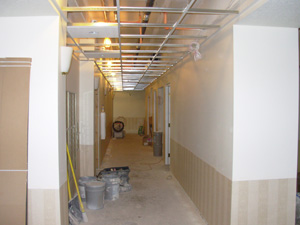 Photo of the interior of a commercial drywall installation